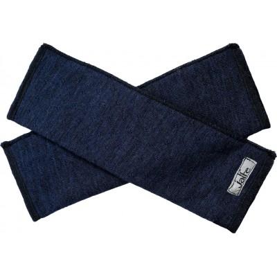Wrist warmers wool melange, jeansblue