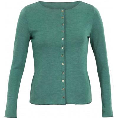 Cardigan wool melange, emerald