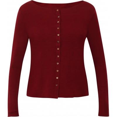 Cardigan wool melange, dark red