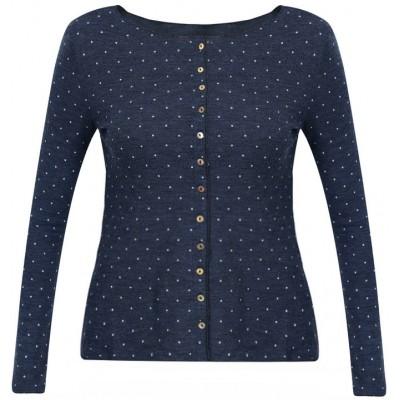 Cardigan wool dots, jeansblue