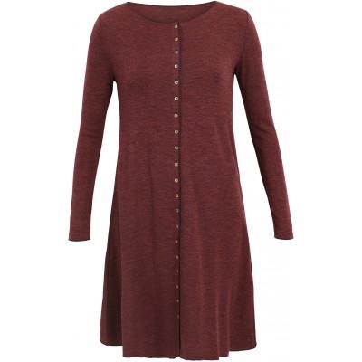 Button dress wool melange, plum