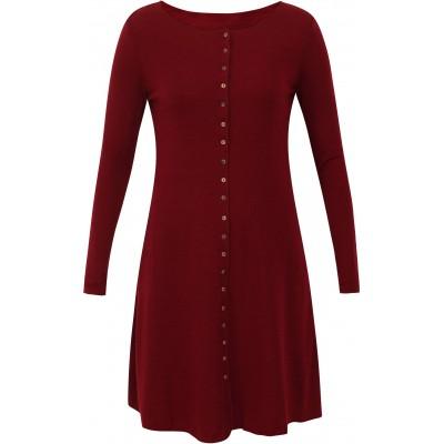 Button dress wool melange, dark red
