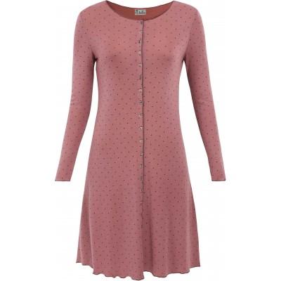 Button dress wool dots, rose