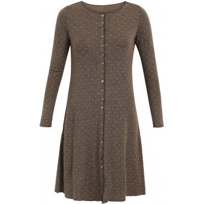 Button dress wool dots, brown