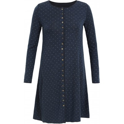 Button dress wool dots, jeansblue