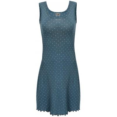 Basic dress wool dots, petrolgreen