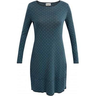 Balloon dress wool dots, petrolgreen