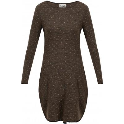 Balloon dress wool dots, brown