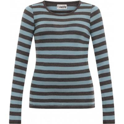 Shirt wool wide stripes, sage-anthracite