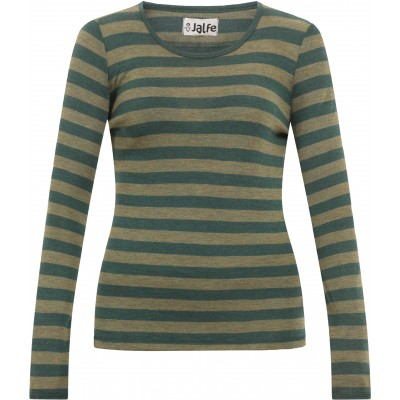Shirt wool wide stripes, forest-olive