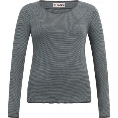 Shirt wool fine stripes, sage-anthracite