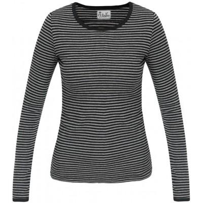 Shirt wool narrow stripes, grey-black