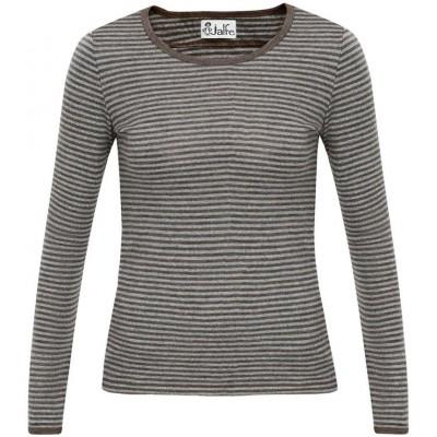 Shirt wool narrow stripes, grey-brown
