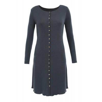 Button dress wool, dark grey: XL