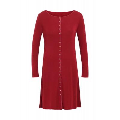 Button dress wool, dark red: M, XL
