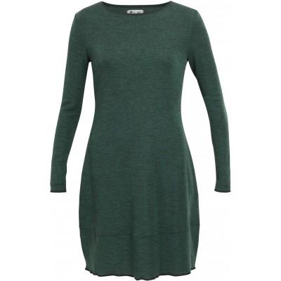 Balloon dress wool melange, dark green