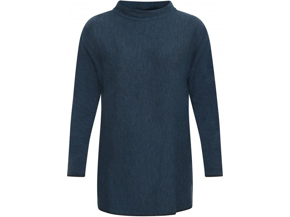 Long Blouse wool rib, petrol