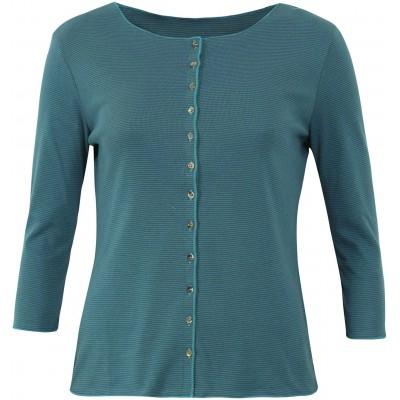 Cardigan 3/4 sl. organic cotton stripes, bluegreen-turquoise