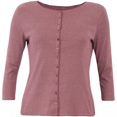 Cardigan 3/4 sl. organic cotton stripes, rose-bordeaux