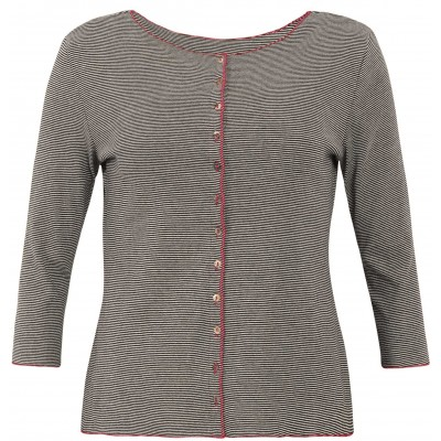 Cardigan 3/4 sl. organic cotton stripes, black-white/pink