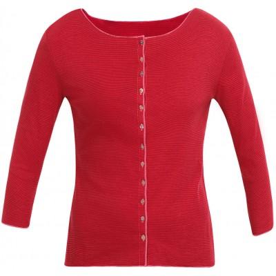 Cardigan 3/4 sl. organic cotton stripes, cerise-red