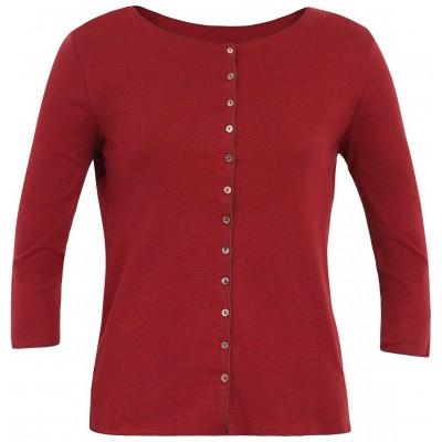 Cardigan 3/4 sl. organic cotton stripes, red-bordeaux