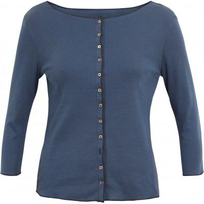 Cardigan 3/4 sl. organic cotton stripes, blue-dark blue