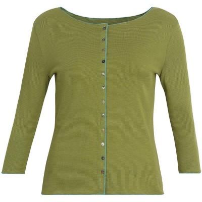 Cardigan 3/4 sl. organic cotton stripes, lime-green