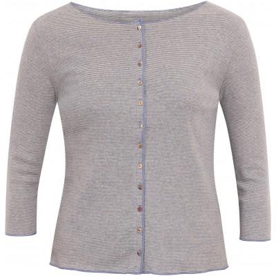 Cardigan 3/4 sl. organic cotton stripes, lavender-undyed