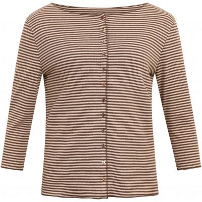Cardigan 3/4 sl. organic cotton stripes, brown-undyed