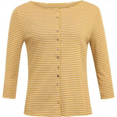 Cardigan 3/4 sl. organic cotton stripes, curry-undyed