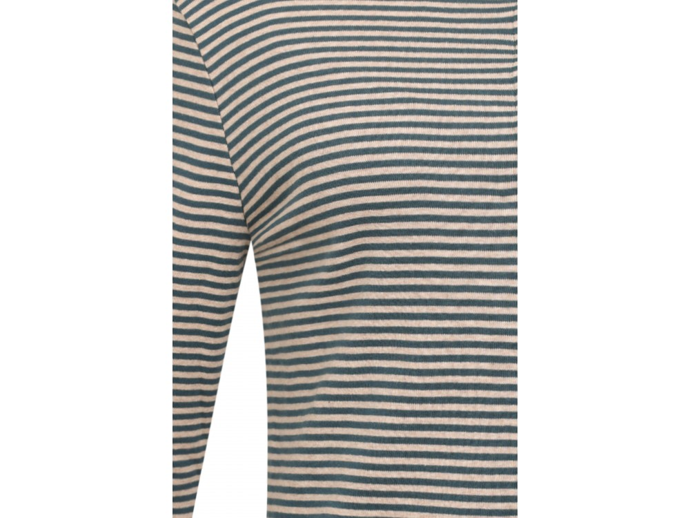 Cardigan 3/4 sl. organic cotton stripes, petrol-undyed