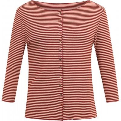 Cardigan 3/4 sl. organic cotton stripes, rust-undyed