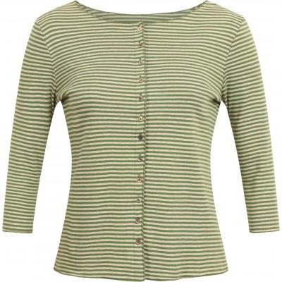 Cardigan 3/4 sl. organic cotton stripes, green-undyed