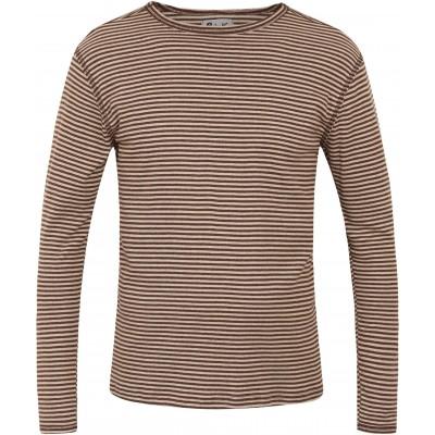 Men´s shirt organic cotton stripes,  brown-undyed
