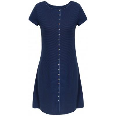 Button dress organic cotton stripes,  black-royal
