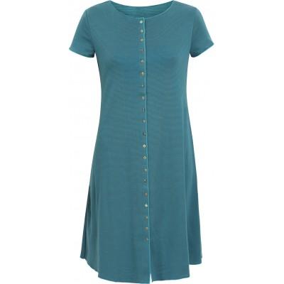 Button dress organic cotton stripes,  bluegreen-turq.