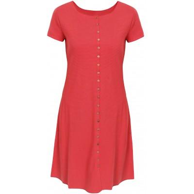 Button dress organic cotton stripes,  pink-orange