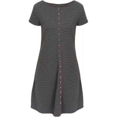 Button dress organic cotton stripes,  grey-anthracite