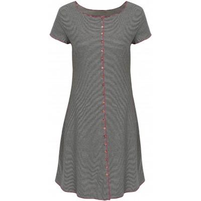 Button dress organic cotton stripes,  black-white