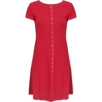 Button dress organic cotton stripes,  cerise-red