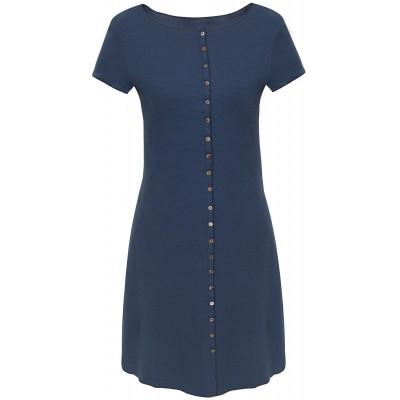 Button dress organic cotton stripes,  blue-dark blue