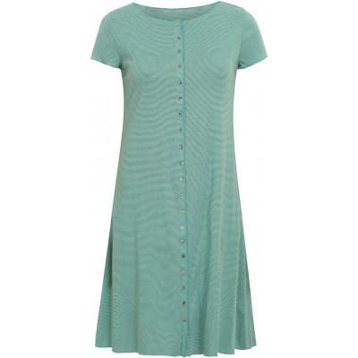 Button dress organic cotton stripes,  water-green
