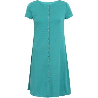 Button dress organic cotton stripes,  petrol-turq.