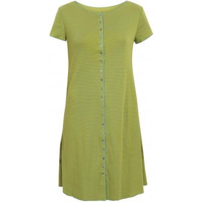 Button dress organic cotton stripes,  lime-green