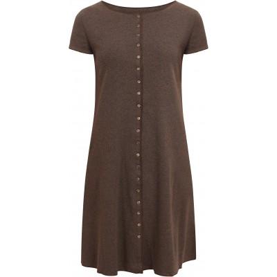 Button dress organic cotton stripes,  anthracite-brown