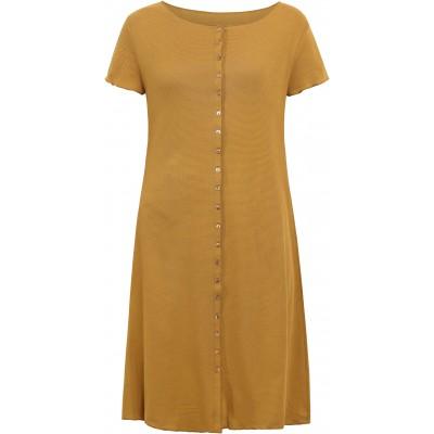 Button dress organic cotton stripes,  curry-light brown