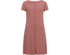 Button dress organic cotton stripes,  rust-undyed