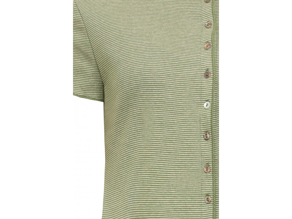 Button dress organic cotton stripes,  green-undyed