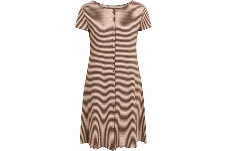 Button dress organic cotton stripes,  brown-undyed